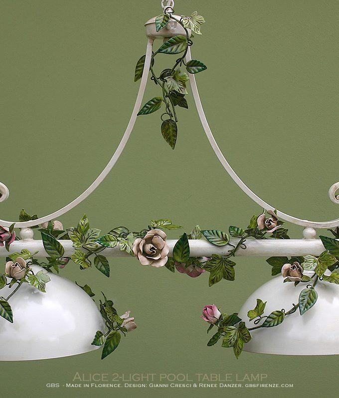 Bilanciere Sospensione Alice edera e rose. 2 Luci. Alice 2-light pool table lamp