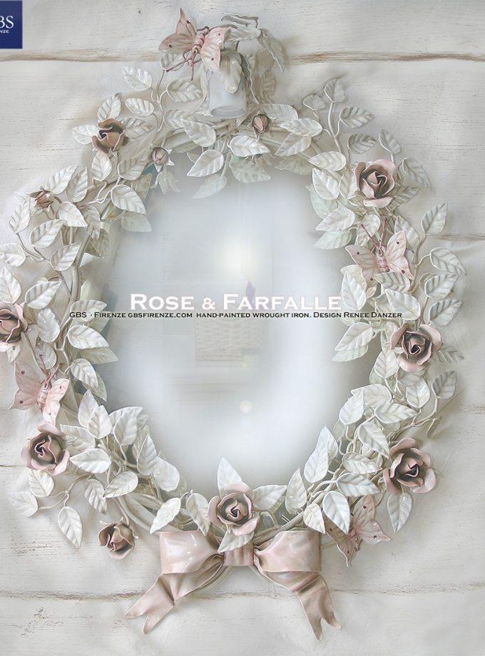 Specchiera Rose e Farfalle. Con fiocco e un punto Luce opzionale. Ferro battuto e decorato a mano.