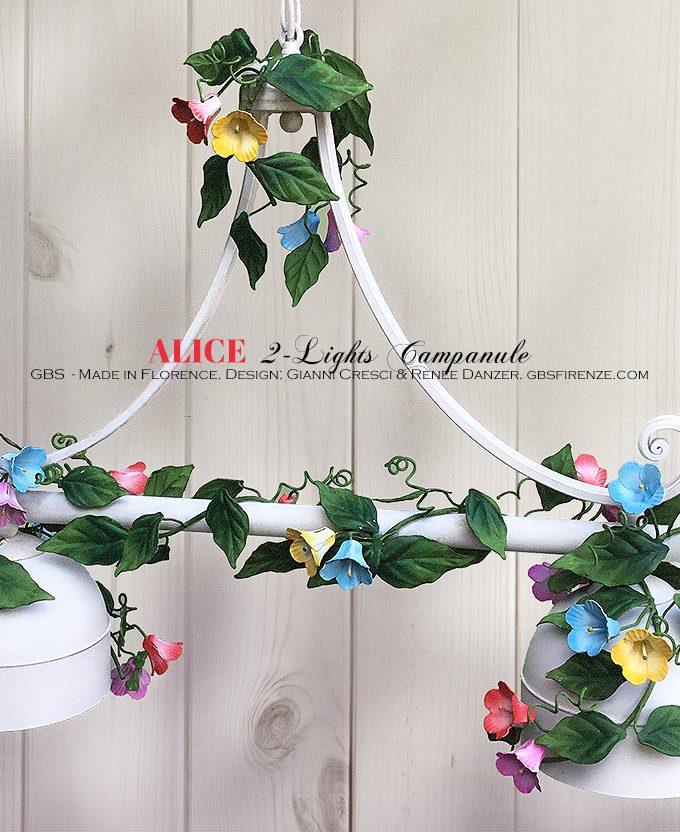 Lampadario Sospensione Campanule. Bilanciere Alice con Campanule. 2 Luci. GBS Firenze, Ferro battuto decorato a mano.
